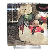 Colorado Snowman Family 2 12 2011 Shower Curtain