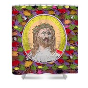 Colored Background Jesus Shower Curtain