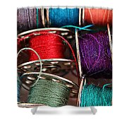 Colored Bobbins - Seamstress - Quilter Shower Curtain