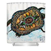 Colored Cultural Zoo C Eastern Woodlands Tortoise Shower Curtain