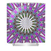 Colored Foil Lily Kaleidoscope Under Glass Shower Curtain