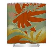 Colored Jungle Orange Splash Shower Curtain
