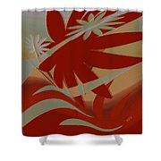 Colored Jungle Red Shower Curtain