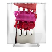 Colored Lipstick On Fork Shower Curtain