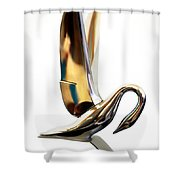 Colored Packard Hood Ornament Shower Curtain