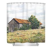 Colored Pencil Barn Shower Curtain