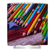 Colored Pencils On Wooden Flag Shower Curtain