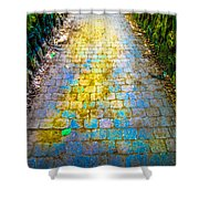 Colored Stones And Lichen Covered Bridge Shower Curtain