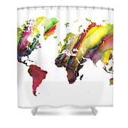 Colored World Map Shower Curtain