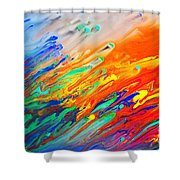 Colorful Abstract Acrylic Painting Shower Curtain