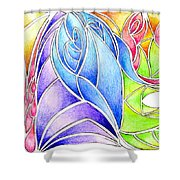 Colorful Abstract Drawing Shower Curtain