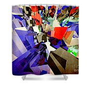 Colorful Abstract Geometric Cluster Shower Curtain