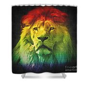 Colorful Artistic Portrait Of A Lion On Black Background  Shower Curtain