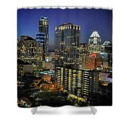 Colorful Austin Skyline At Night Shower Curtain