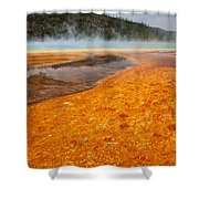 Colorful Bacteria Mat Surrounding Grand Prismatic Spring Shower Curtain