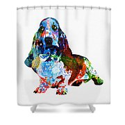 Colorful Basset Shower Curtain