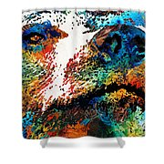 Colorful Bear Art - Bear Stare - By Sharon Cummings Shower Curtain