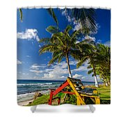 Colorful Bench On Caribbean Coast Shower Curtain