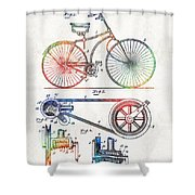 Colorful Bike Art - Vintage Patent - By Sharon Cummings Shower Curtain