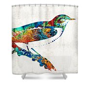 Colorful Bird Art - Sweet Song - By Sharon Cummings Shower Curtain