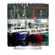 Colorful Boats Tied Up To The Wharf Shower Curtain