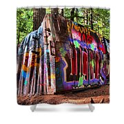Colorful Box Car In The Forest Shower Curtain