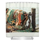 Colorful Catch - Starfish In Fishing Nets Shower Curtain
