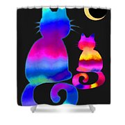 Colorful Cats And The Moon Shower Curtain
