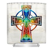 Colorful Celtic Cross By Sharon Cummings Shower Curtain