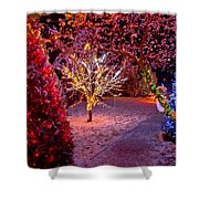 Colorful Christmas Lights On Trees Shower Curtain
