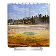 Colorful Chromatic Geyser In Upper Geyser Basin Shower Curtain