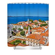 Colorful City Of Zadar Rooftops  Towers Shower Curtain