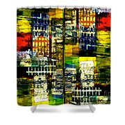 Colorful City Scene Shower Curtain