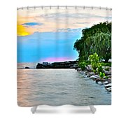 Colorful Coastline Shower Curtain