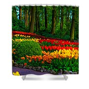 Colorful Corner Of The Keukenhof Garden 4. Tulips Display. Netherlands Shower Curtain