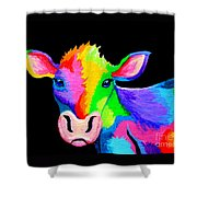 Colorful Cow-cow-a-bunga Shower Curtain by Nick Gustafson