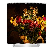 Colorful Cut Flowers In A Vase Shower Curtain