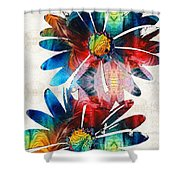 Colorful Daisy Art - Hip Daisies - By Sharon Cummings Shower Curtain