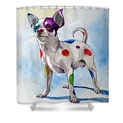 Colorful Dalmatian Chihuahua Shower Curtain