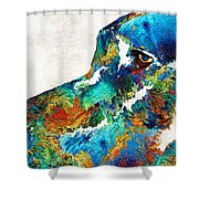 Colorful Dog Art - Loving Eyes - By Sharon Cummings  Shower Curtain