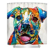 Colorful Dog Pit Bull Art - Happy - By Sharon Cummings Shower Curtain by Sharon Cummings