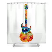Colorful Electric Guitar 2 - Abstract Art By Sharon Cummings Shower Curtain