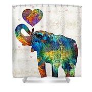 Colorful Elephant Art - Elovephant - By Sharon Cummings Shower Curtain