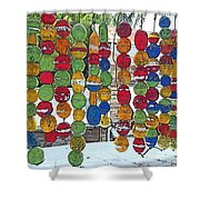 Colorful Fishing Floats Shower Curtain
