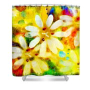 Colorful Floral Abstract - Digital Paint Shower Curtain