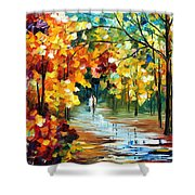 Colorful Forest - Palette Knife Oil Painting On Canvas By Leonid Afremov Shower Curtain