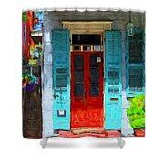 Colorful French Quarter Door  Shower Curtain
