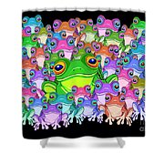 Colorful Froggy Family Shower Curtain