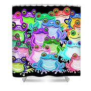 Colorful Frogs Shower Curtain