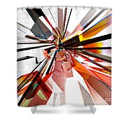 Colorful Geometric Shapes With Text  Shower Curtain